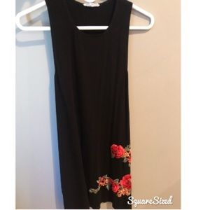 Black Tank Top Dress with Flower Design